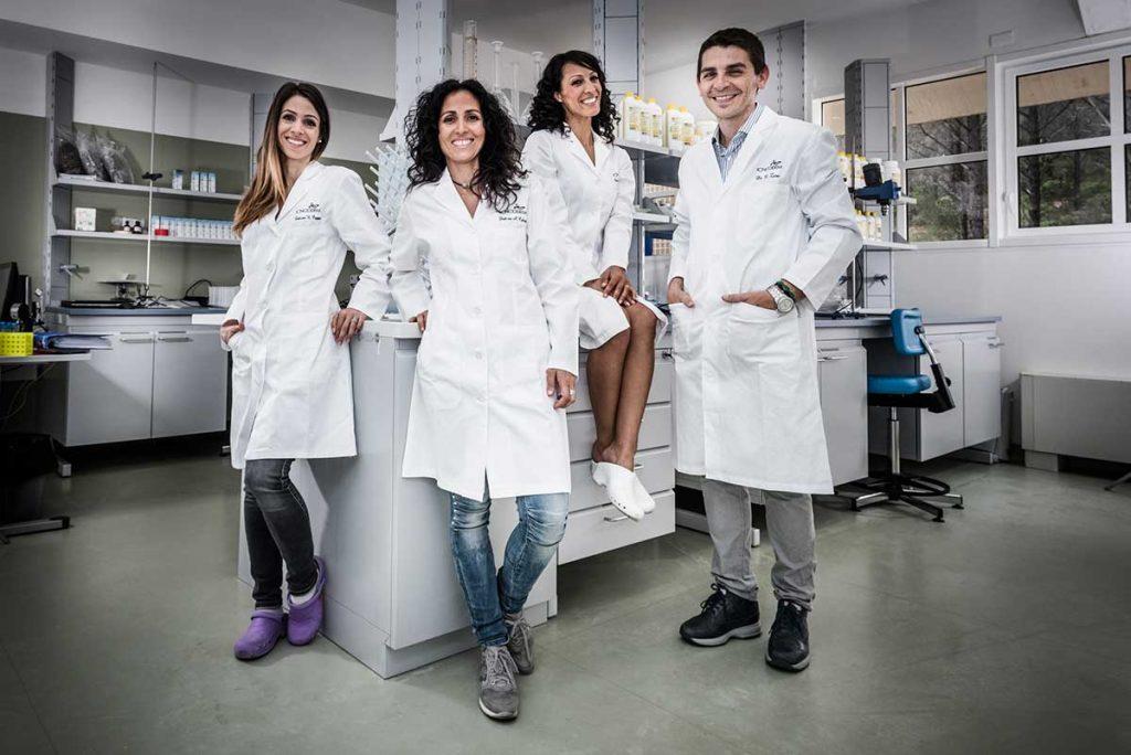 Da sinistra: Nadia Cappai, Alba Cabras, Aicha Ouhtit e Marco Zaru, il team Icnoderm