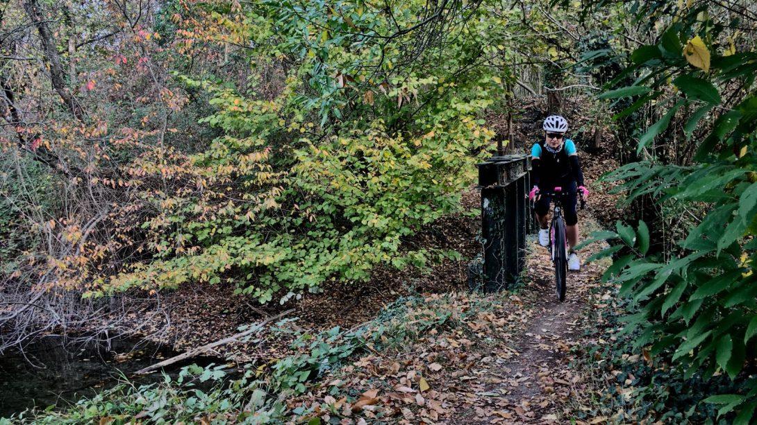Daniela Schicchi nel bosco immerso di foglie cadute, attraversa in sella alla Zydeco Cinelli un ponticello, durante la gravel con i Turbolento