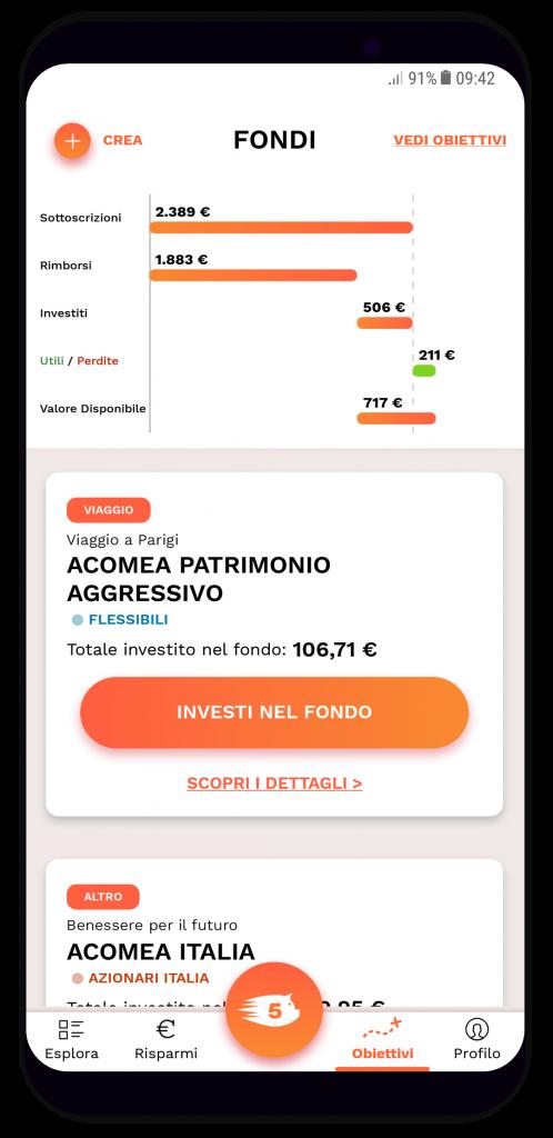 Grazie all'app di Gimme5 avrete il controllo su tutto quanto accadrà al denaro accantonato e investito